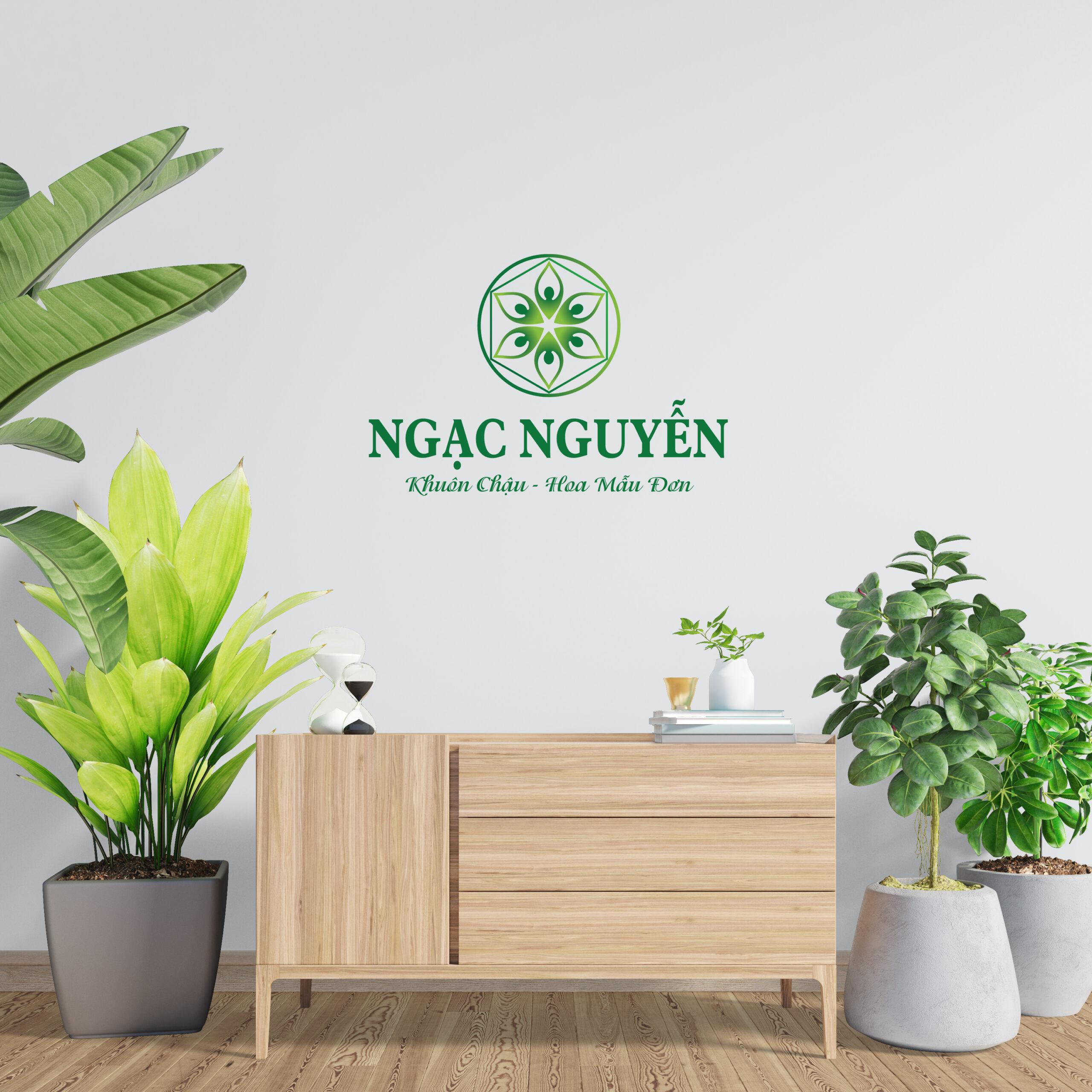 Logo Ngạc Nguyễn Chuyên Khuôn chậu hoa mẫu đơn với màu xanh lá tươi mát