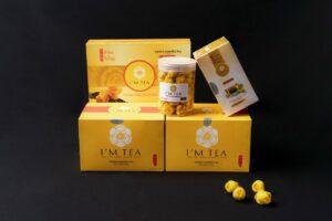 Mẫu hộp trà hoa vàng